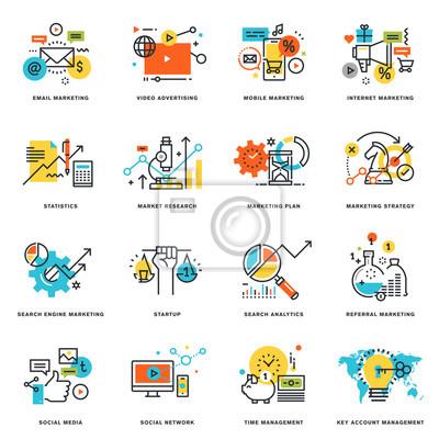 Zestaw płaskich ikon projektowania linii marketingu internetowego i biznesu. ilustracji wektorowych koncepcje graficzne i projektowanie stron internetowych i rozwój, odizolowane na białym.