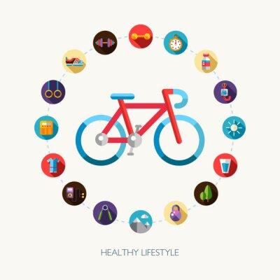 Naklejka Zestaw płaskich sportu, fitness i projektowania ikon stylu życia zdrowych