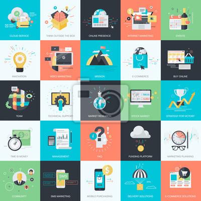 Zestaw płaskich typu Design Concept ikon dla marketingu, e-commerce