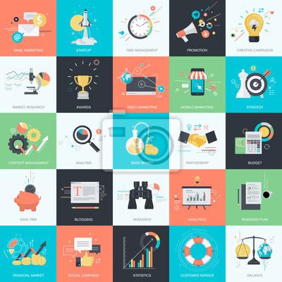 Zestaw płaskim stylu ikon na projekt koncepcji marketingu internetowego