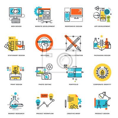 Zestaw projektowania ikon płaska linia projektowania graficznego, strony internetowej i aplikacji projektowania i rozwoju. koncepcja ilustracji wektorowych.