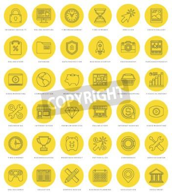 Zestaw prostych ikon płaskiej linii. Cienkie liniowe ikony wektor obrysu Podstawowe symbole obiektów. Do grafiki internetowej, aplikacji mobilnych, projektowania infografiki, broszur, banerów, nagłówk
