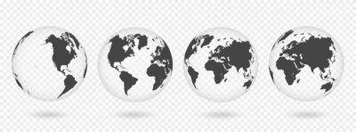 Naklejka Zestaw przezroczystych kul ziemskich. Realistyczna mapa świata w kształcie kuli ziemskiej z przezroczystą teksturą i cieniem