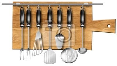 Zestaw przyborów kuchennych na desce do krojenia