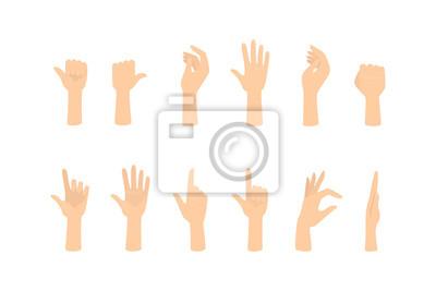 Naklejka Zestaw rąk pokazujących różne gesty