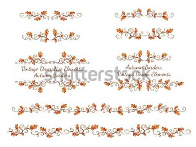 Naklejka Zestaw ręcznie rysowane granic z liści jesienią