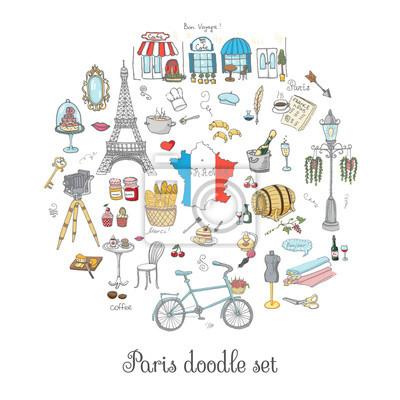Naklejka Zestaw ręcznie rysowane ikony francuskiej, Paris szkic ilustracji, elementy doodle, izolowane krajowe elementy wektorowe do Francji ikon dla kart, stron internetowych, artykułów podróży Paris symbole