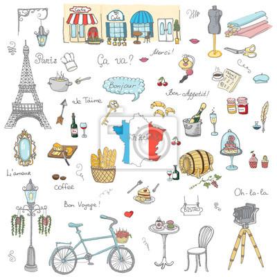 Naklejka Zestaw ręcznie rysowane ikony francuskiej, Paris szkic ilustracji, elementy doodle, odizolowane elementy krajowych wykonanych w wektorze. Podróż do Francji ikon dla kart i stron internetowych, Paris s