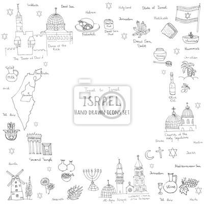 Naklejka Zestaw ręcznie rysowane Izrael ikony, ilustracja, szkic żydowskiej elementami doodle, odizolowane elementy krajowych wykonanych w wektorze. Podróż do Izraela ikon dla kart i stron internetowych