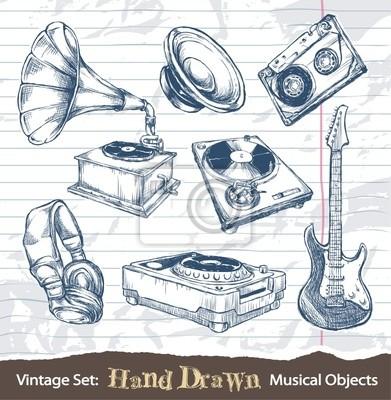 Zestaw ręcznie rysowane obiekty muzyczne
