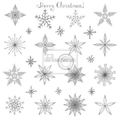 Naklejka Zestaw ręcznie rysowane płatki ozdób choinkowych wykonanych z dekoracyjne płatki szkic ilustracji wektorowych Christmas tła z Białe płatki śniegu na ciemnym tle