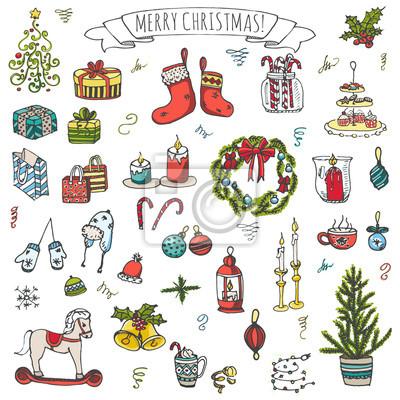 Naklejka Zestaw ręcznie rysowane sketchy Wesołych Świąt elementów. Elementy ilustracji wektorowych Doodle: Świece, pudełka, wieniec, zapasów, choinki, cukierki, laski, dzwonki, dekoracja holly. Szczęśliwe świę