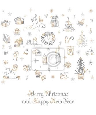 Naklejka Zestaw ręcznie rysowane szkicowane elementy Boże Narodzenie Doodle elementy ilustracji wektorowych Świece pudełka na prezenty Boże Narodzenie wieniec drzewo magazynowanie cukierek cukierek ciasteczka