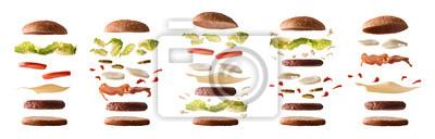 Naklejka Zestaw różnych hamburgerów ze składników warstwami biały na białym tle