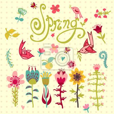Zestaw różnych wiosna kwiaty z napisami