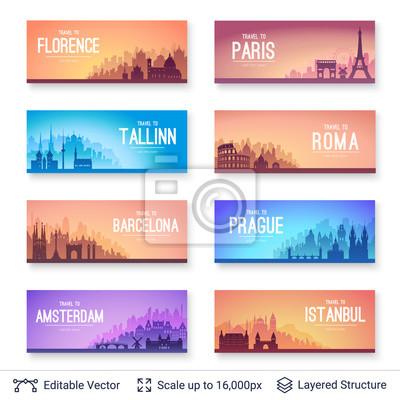 Zestaw słynnych europejskich miast scapes.