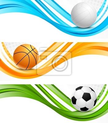 Zestaw sportowych transparenty faliste