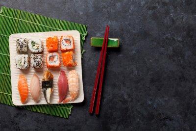 Naklejka Zestaw sushi i maki rolki