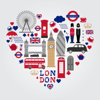 Naklejka Zestaw symboli Hearth w Londynie. Kolekcja ikon w Wielkiej Brytanii.