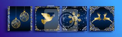 Zestaw szablonów kartkę z życzeniami Christmas złota