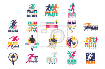 Naklejka Zestaw szablonów logo klubu sportowego, emblematy dla organizacji sportowych, turnieje i maratony kolorowe ilustracje wektorowe