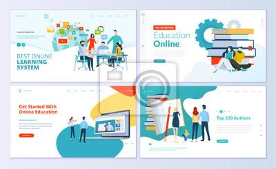 Naklejka Zestaw szablonów stron internetowych do e-learningu, edukacji online, e-booków. Nowoczesne koncepcje wektorowe ilustracji do rozwoju strony internetowej i mobilnych.