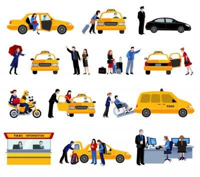 Naklejka Zestaw Taxi Service Ikony