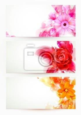 zestaw trzech banerów, nagłówków abstrakcyjne z kwiatów