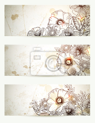 Zestaw trzech nagłówków wyciągnąć rękę kwiatów oddział