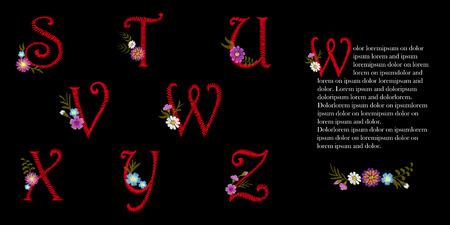 Zestaw vintage alfabetu łacińskiego alfabetu angielskiego. Początkowe ozdobne kwiatuszki. Kapitał czcionki ozdobny czerwony wektor ilustracja litery haftowane stuvwxyz kwiatowy wzór wektor.
