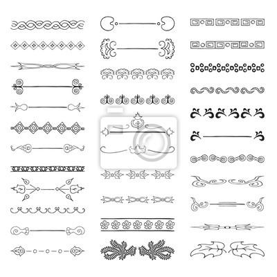 Zestaw vintage dzielników tekstu doodle, fantazyjne linie, ozdobne obramowania.