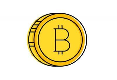 Zestaw wektor Bitcoin i Cryptocurrency ikona linii obrysu