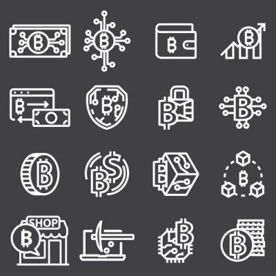 Zestaw wektor cienka linia wektor Bitcoin i ikony kryptowalut.