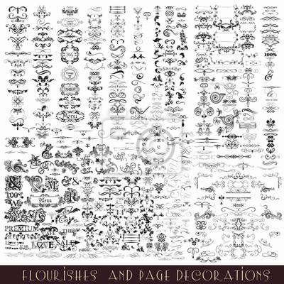 Naklejka Zestaw wektora elementów kaligraficznych i dekoracje na stronie