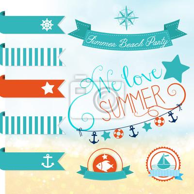 Naklejka Zestaw wektora odręcznych napisów na lato projektowania