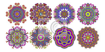 zestaw wzorców koło dekoracyjne, etniczne kwiat paisley projektu