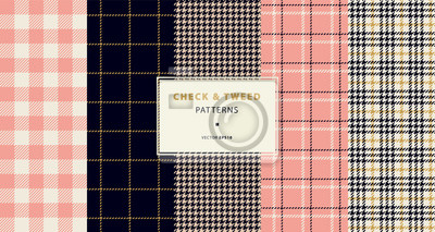 Naklejka Zestaw wzorów bez szwu i tweedów