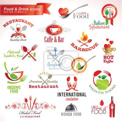 Zestaw z jedzeniem i piciem ikon wektorowych