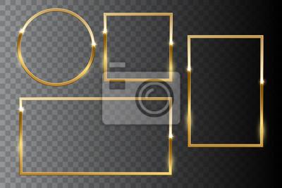 Naklejka Zestaw złoty błyszczący rama na białym tle na ciemnym przezroczystym tle. Elementy projektu wektor