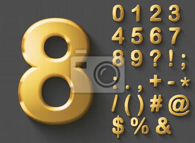 Naklejka Zestaw złotych luksusowych numerów 3D i znaków. Złoty metaliczny błyszczące odważne symbole na szarym tle. Dobry zestaw do pojęcia bogactwa i klejnotów. Transparentny cień, EPS 10 ilustracji wektorowy
