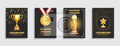 Naklejka Zestaw złotych trofeów nagród