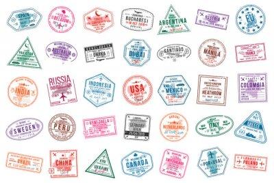 Naklejka Zestaw znaczków wizowych do paszportów. Znaczki urzędów międzynarodowych i imigracyjnych. Znaczki wizy przyjazdowej i wyjazdowej