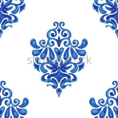 Naklejka Zestawienie ozdobnych akwareli farby płytki wzór dla tkanin
