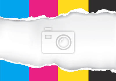 Naklejka Zgrane papieru z kolorów drukarskich. Zgrane papieru z miejsca dla obrazu lub tekstu. Koncepcja prezentacji drukowanie w kolorze. Wektor dostępne.
