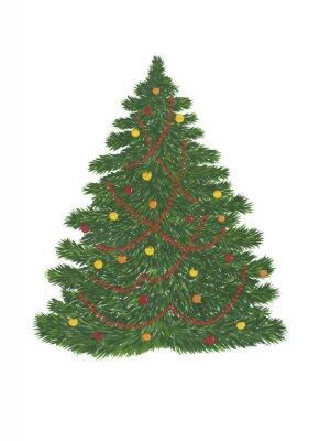 Zielone drzewo sosnowe z choinkowe (kulki czerwone i kolorowe kulki) na białym tle. Gwasz malarstwo. Malowane ręcznie.