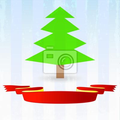 zielone drzewo z czerwoną wstążką na dół paski na niebieskim tle