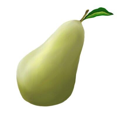 Naklejka Zielone gruszki na białym tle