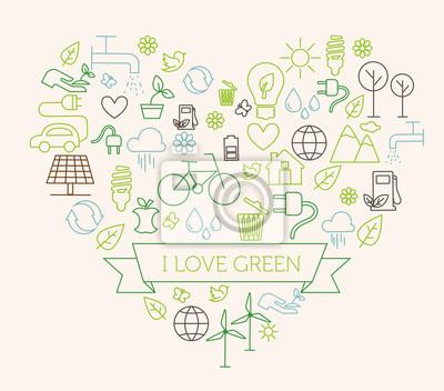 Naklejka Zielony - koncepcja ekologii, płaski styl, cienka linia sztuki