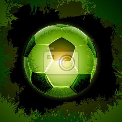 zielony, trawy, piłka czarny