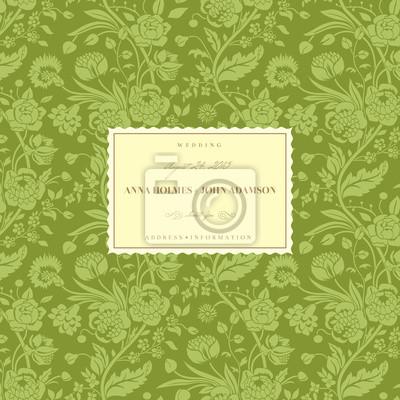 Zielony zabytkowe karty ślub z bukietami kwiatów